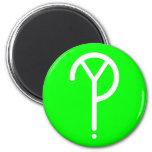 White Y? Symbol- On Green Fridge Magnets