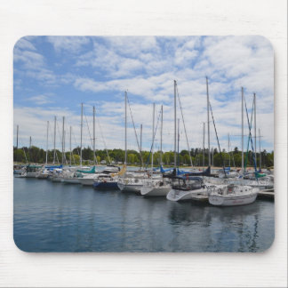 White Yachts moored at the Marina Mouse Pad