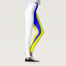 White Yellow and Blue Vertically-Striped Leggings