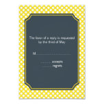 White, Yellow and Charcoal Polka Dot 3.5x5 Paper Invitation Card