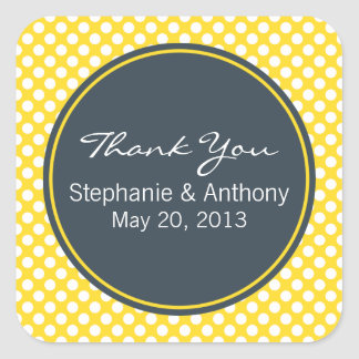 White, Yellow and Charcoal Polka Dot Thank You Square Sticker