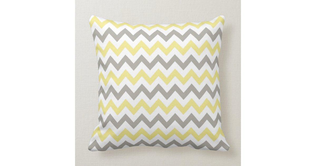 White, Yellow and Gray chevron design throw pillow Zazzle