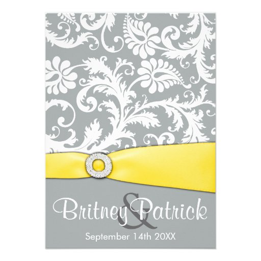 White Yellow And Gray Damask Wedding Invitations
