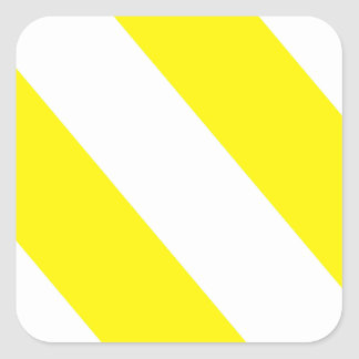 White Yellow Attention Stripes Square Sticker