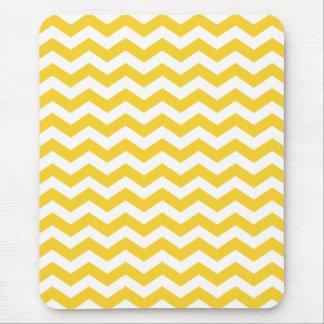 White Yellow Chevron Stripes Mouse Pad