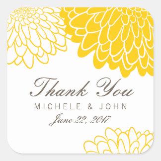 White Yellow Chrysanthemum Thank You Stickers