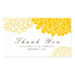 White Yellow Chrysanthemum Thank You Tag Cards Double-Sided Standard Business Cards (Pack Of 100)
