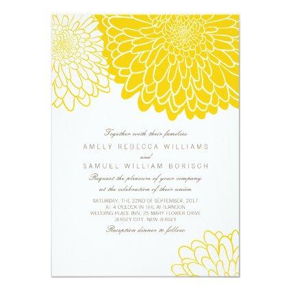 White Yellow Chrysanthemum Wedding Invitation