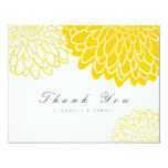 "White Yellow Chrysanthemum Wedding Thank You Card 4.25"" X 5.5"" Invitation Card"