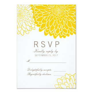 "White Yellow Chrysanthemums Response RSVP Card 3.5"" X 5"" Invitation Card"