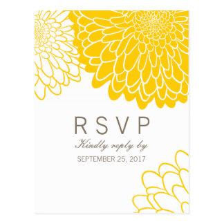 White Yellow Chrysanthemums Response RSVP Postcard