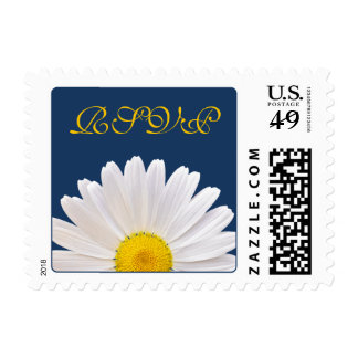 White Yellow Daisy Flower Navy Blue Wedding RSVP Postage