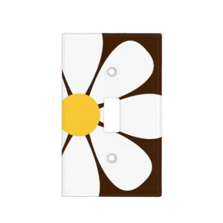 White & Yellow Daisy Flower on Brown Light Switch Cover