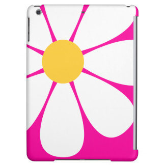 White & Yellow Daisy Flower on Hot Pink iPad Air Cases