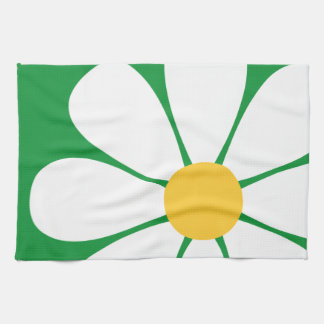 White & Yellow Daisy Flower on Kelly Green Hand Towels