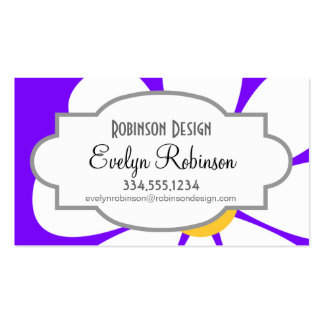 White & Yellow Daisy Flower on Violet Purple Business Card