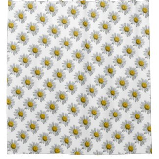 White Yellow Daisy Flowers Floral Shower Curtain