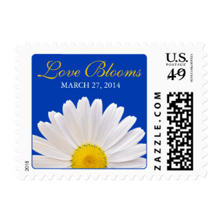 White Yellow Daisy Royal Blue Love Blooms Wedding Postage Stamp
