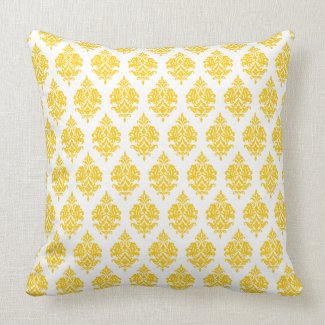White,Yellow,Damask Pattern Throw Pillow