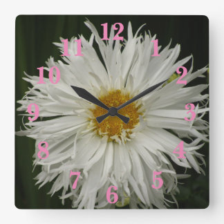 White Yellow Flower Square Wall Clock