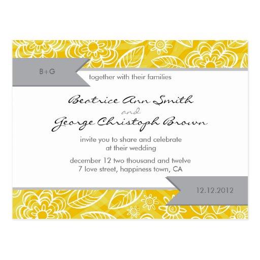 white & yellow flowers pattern wedding invite postcard