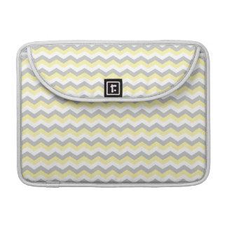 White, Yellow Gray Chevron Zigzag Sleeve For MacBook Pro
