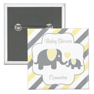 White, Yellow & Gray Stripe Elephants Baby Shower 2 Inch Square Button