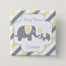 White, Yellow & Gray Stripe Elephants Baby Shower Button