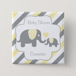 White, Yellow & Gray Stripe Elephants Baby Shower Button