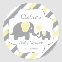 White, Yellow & Gray Stripe Elephants Baby Shower Classic Round Sticker