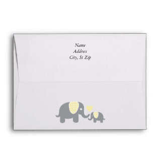 White, Yellow & Gray Stripe Elephants Baby Shower Envelope