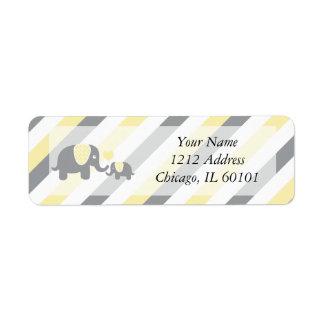 White, Yellow & Gray Stripe Elephants Baby Shower Label
