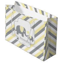 White, Yellow & Gray Stripe Elephants Baby Shower Large Gift Bag