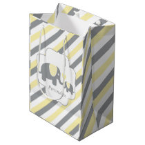 White, Yellow & Gray Stripe Elephants Baby Shower Medium Gift Bag