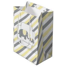 White, Yellow & Gray Stripe Elephants Baby Shower Medium Gift Bag