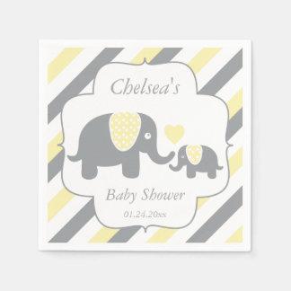 White, Yellow & Gray Stripe Elephants Baby Shower Paper Napkin