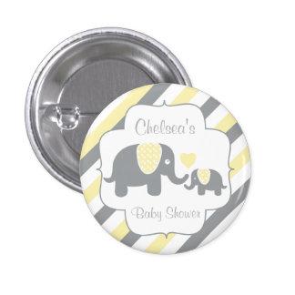 White, Yellow & Gray Stripe Elephants Baby Shower Pinback Button