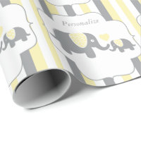 White, Yellow & Gray Stripe Elephants Baby Shower Wrapping Paper