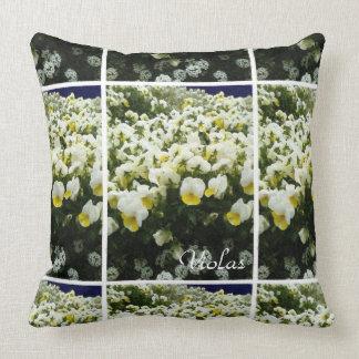 White & Yellow Johnny Jump Ups Floral Botanical Throw Pillow