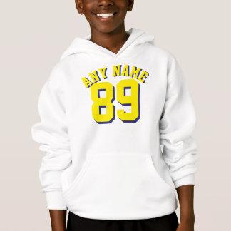 White & Yellow Kids | Sports Jersey Design Hoodie