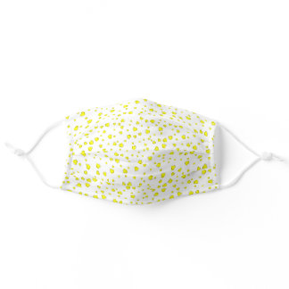 White Yellow Pattern Adult Cloth Face Mask