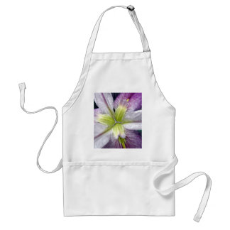 White Yellow Purple Iris Flower in the Rain Floral Adult Apron