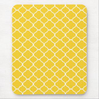 White Yellow Quatrefoil Pattern Mouse Pad