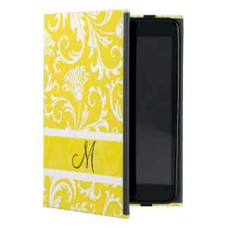 White & Yellow Vintage Floral Damasks Monogram Cover For iPad Mini