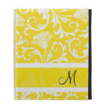 White & Yellow Vintage Floral Damasks Pattern iPad Folio Cases