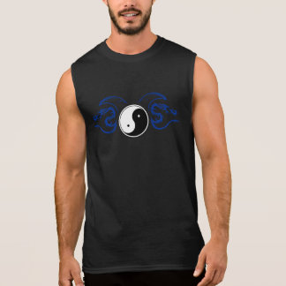 White Yin Yang with a Blue Tribal Dragon Design 2 Sleeveless Shirt
