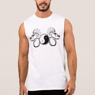 White Yin Yang with a Tribal Dragon Design Sleeveless Shirt