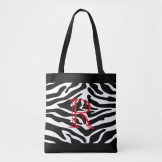 White Zebra Pattern over Any Color with Monogram Tote Bag