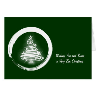 White Zen Christmas Tree Greeting Cards