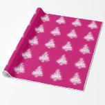 White Zen Christmas Tree Gift Wrap Paper